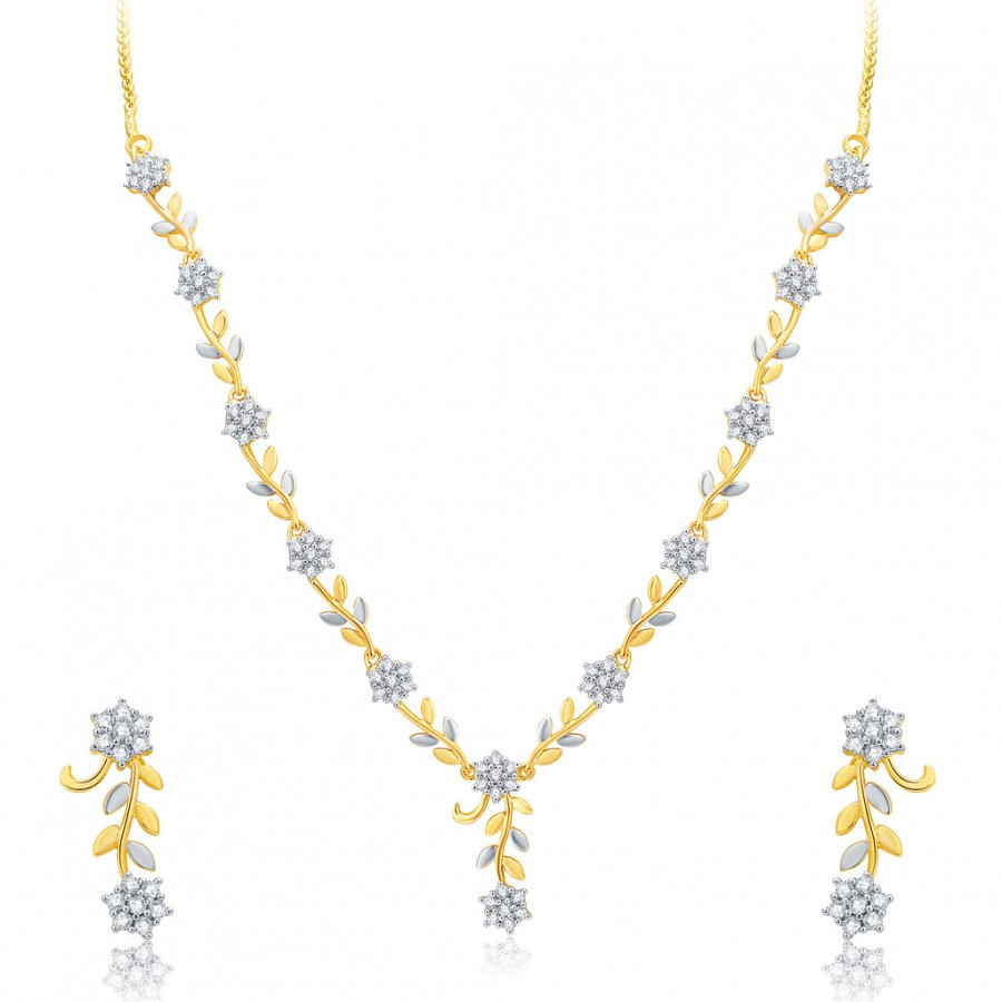 Buy Pissara Pleasant Gold And Rhodium Plated CZ Neklace Set For Women Online