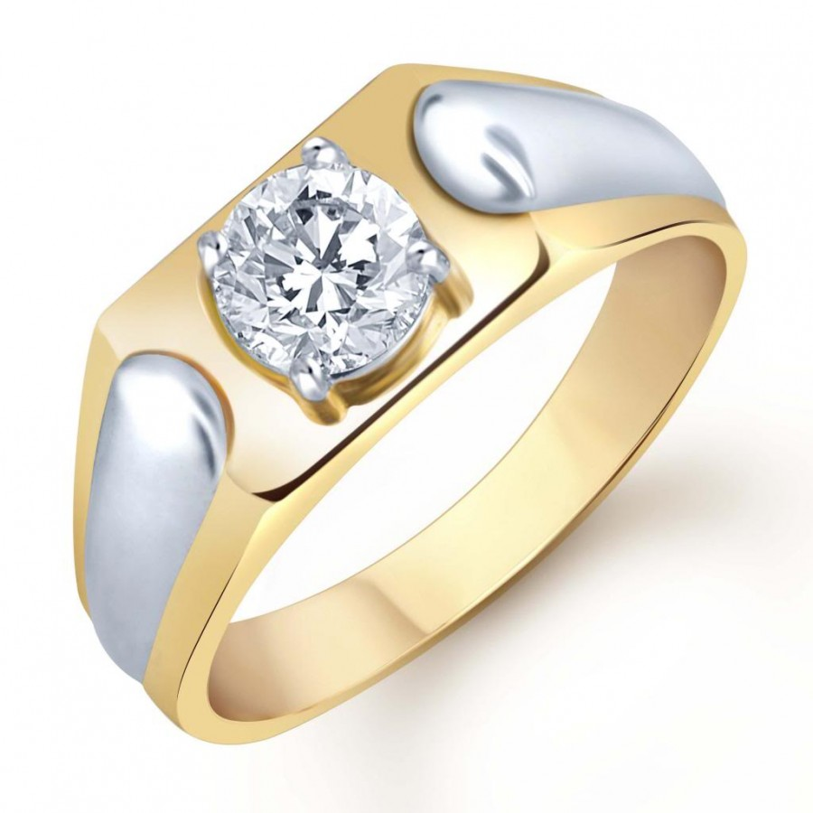 Buy Pissara Gold and Rhodium Plated Solitaire CZ Ring for Men(129GRK590) Online
