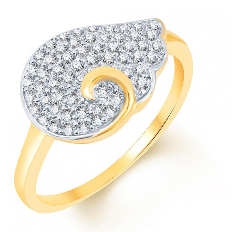 Buy Pissara Glistening Two Tone CZ Studded Ring Online
