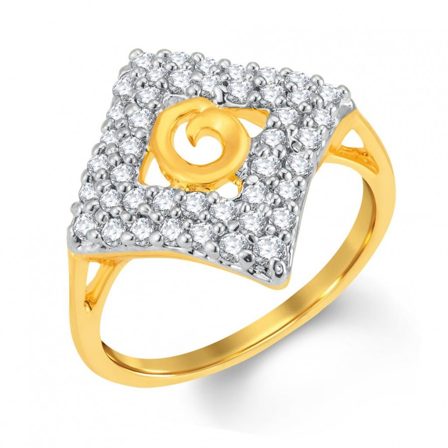 Buy Pissara Fabulous Gold and Rhodium Plated Cubic Zirconia Ring Online