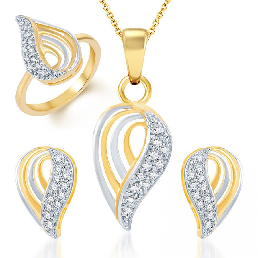 Buy Pissara Youthful Trendy Gold and Rhodium Plated CZ Pendant Set and Ring Combo Online