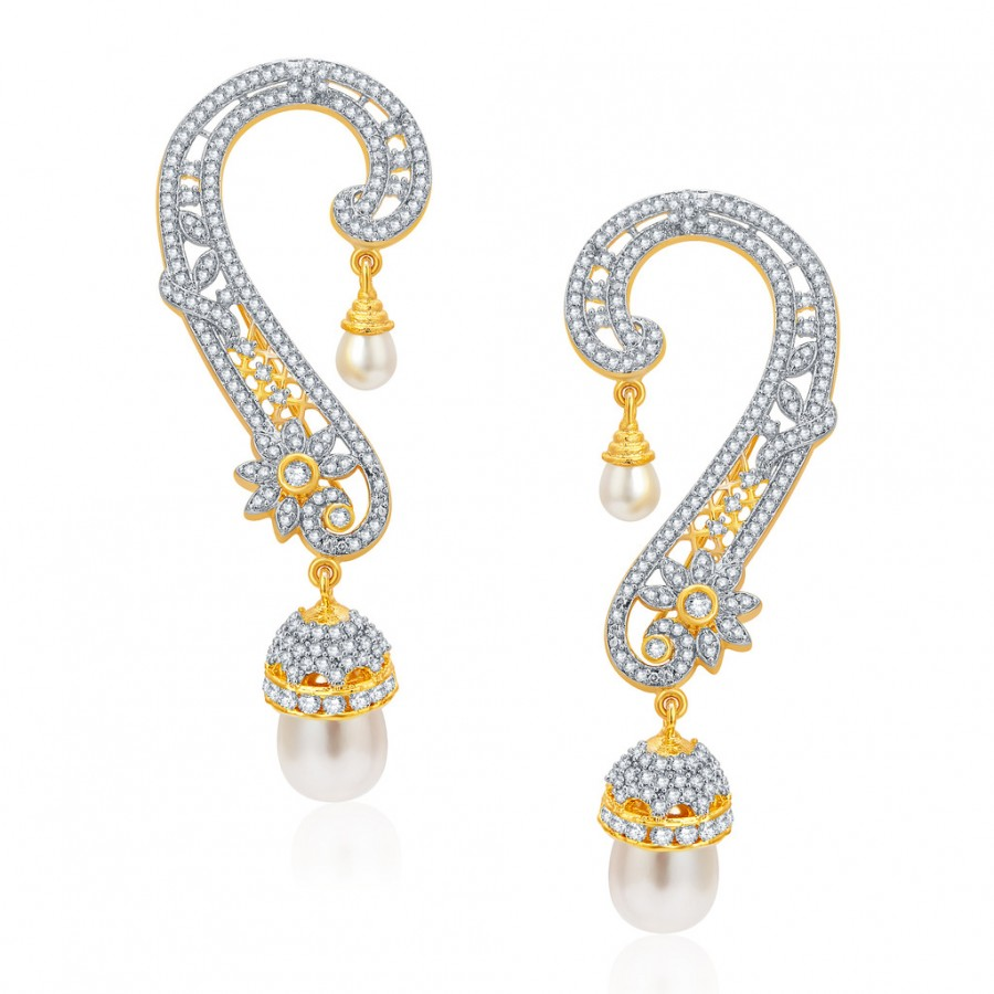 Buy Pissara Glittery Gold and Rhodium Plated CZ Earcuff For Women Online