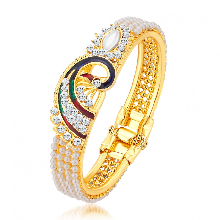Buy Sukkhi Exquisite Pecock Gold Plated AD Kada For Women Online
