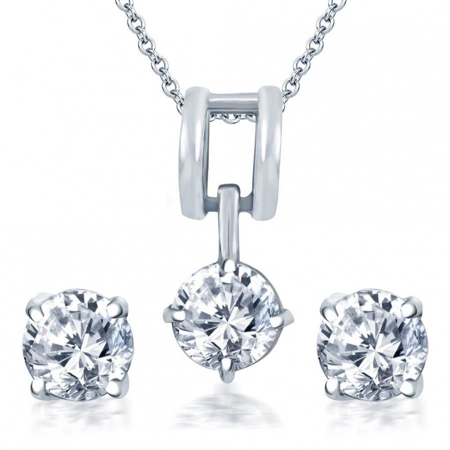 Buy Pissara Delightful Rhodium Plated Solitaire CZ Pendant Set Online