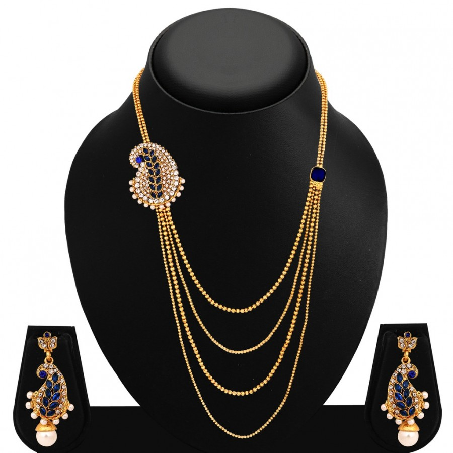 Buy Sukkhi Eye-Catchy Peacock Four Strings Gold Plated AD Necklace Set For Women Online