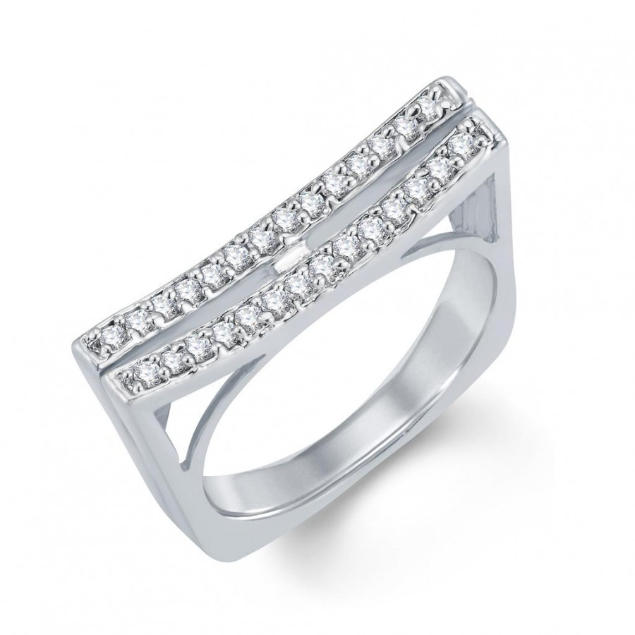 Buy Pissara Stunning Rhodium Plated Cubic Zirconia Ring Online