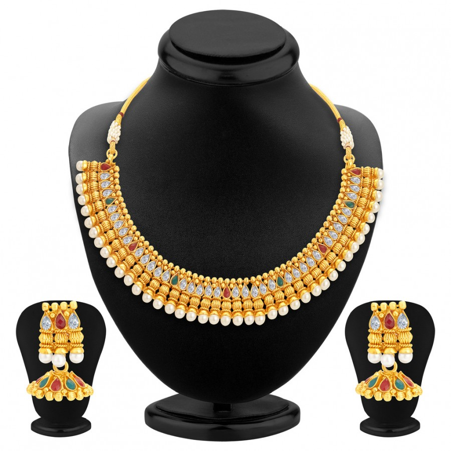 Buy Sukkhi Eye-Catchy Gold Plated Kundan Necklace Set For Women Online