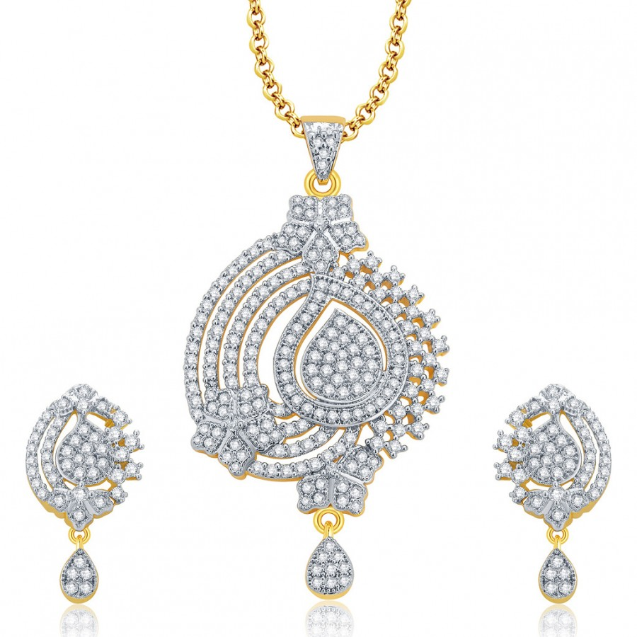 Buy Pissara Flawless Gold And Rhodium Plated CZ Pendant Set For Women Online