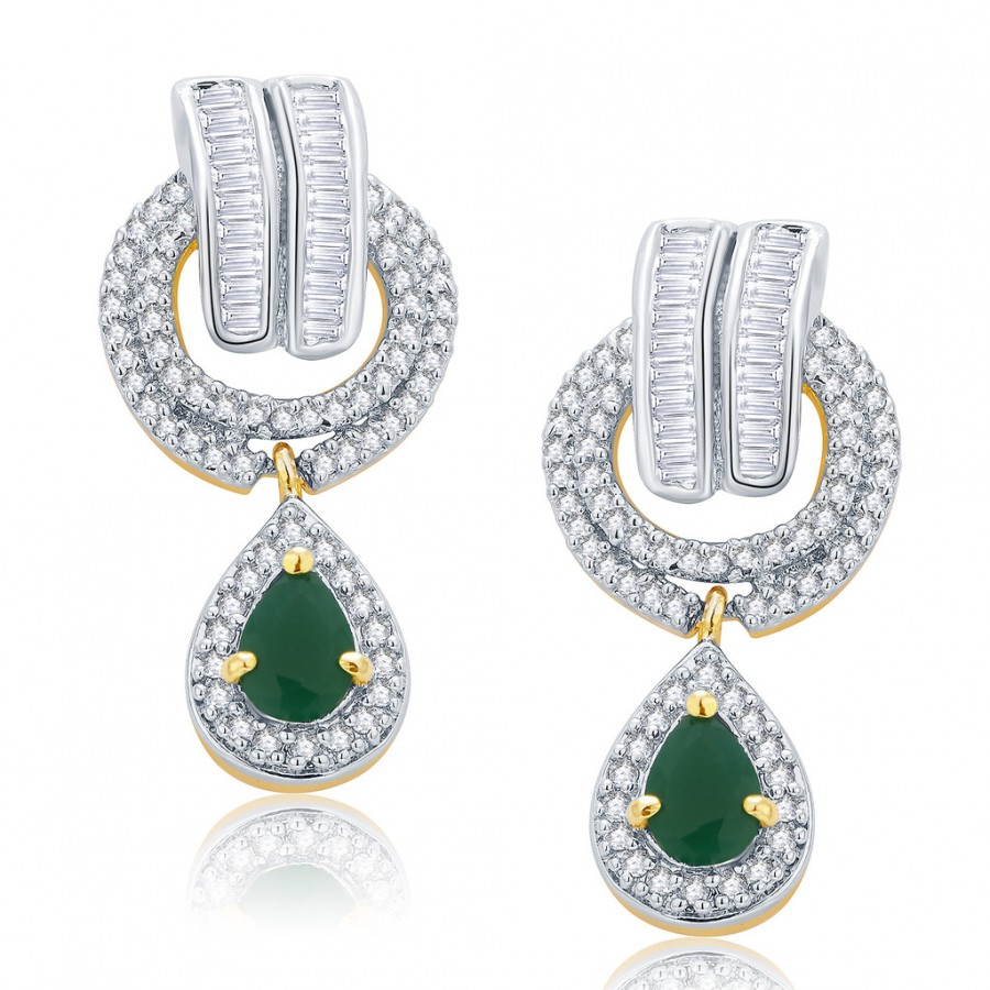 Buy Pissara Vibrant Gold And Rhodium Plated Emerald CZ Earrings For Women Online