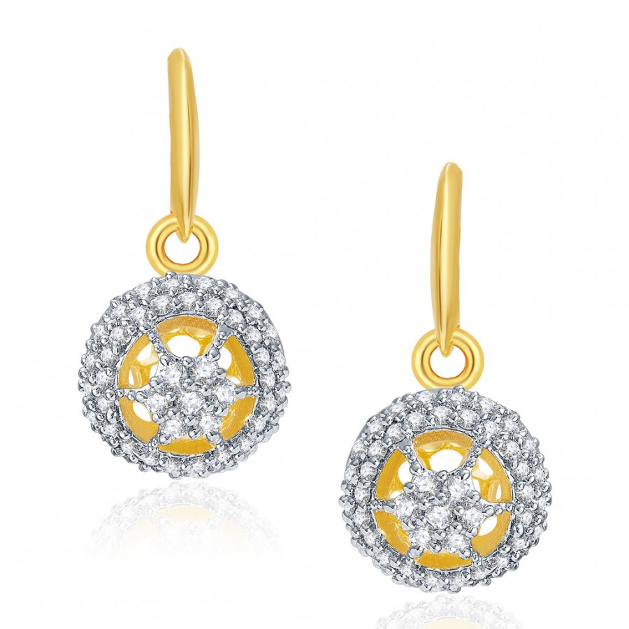 Buy Pissara Splendour Gold And Rhodium Plated CZ Hoops For Women Online