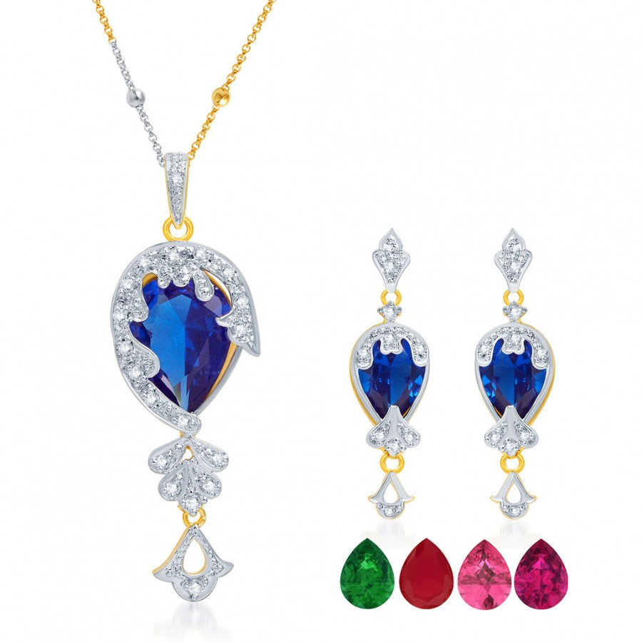 Buy Pissara Youthful Gold and Rhodium Plated CZ Pendant Set with Set of 5 Changeable Stone Online
