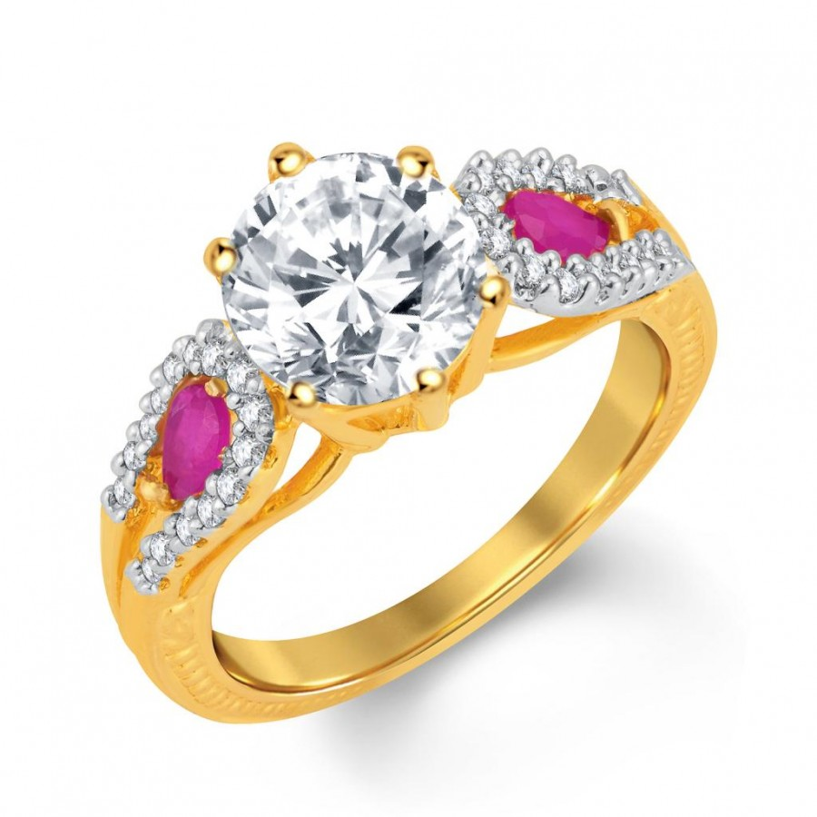 Buy Pissara Briliant Gold and Rhodium Plated CZ and Ruby Studded Ring Online