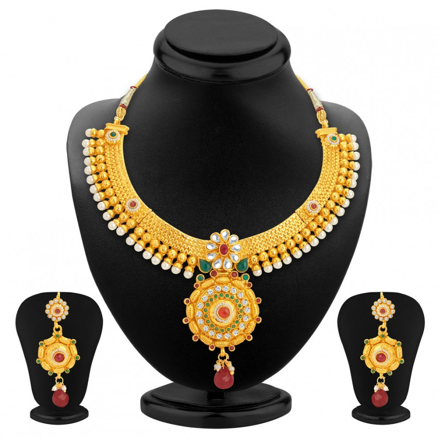 Buy Sukkhi Cluster Gold Plated Necklace Set For Women Online
