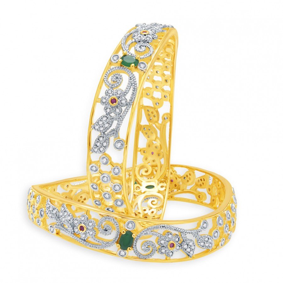Buy Pissara Pretty Gold And Rhodium Plated Emerald CZ Bangles For Women Online