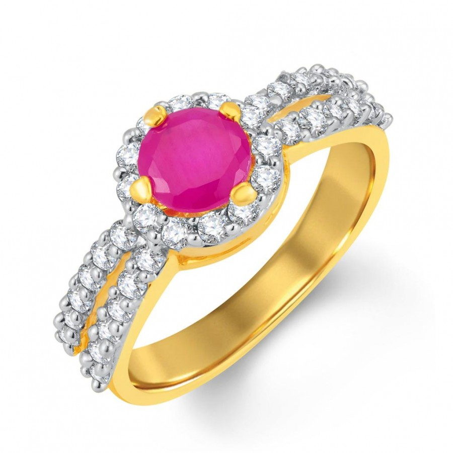 Buy Pissara Luxurious Gold and Rhodium Plated CZ and Ruby Studded Ring Online