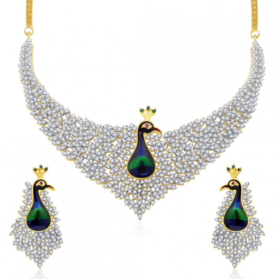 Buy Pissara Magnificent Peacock Gold And Rhodium Plated CZ Neklace Set For Women Online