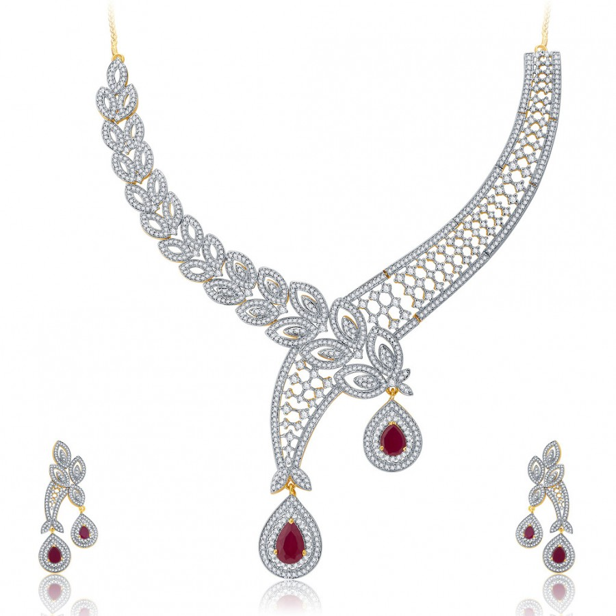 Buy Pissara Irresistable Gold And Rhodium Plated Ruby CZ Neklace Set For Women Online