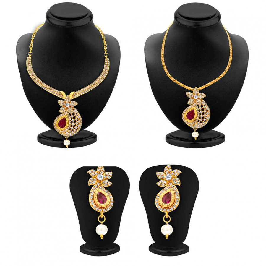 Buy Sukkhi Brilliant Necklace Set Detachable to Pendant Set with Chain and Set of 5 Changeable Stone For Women Online