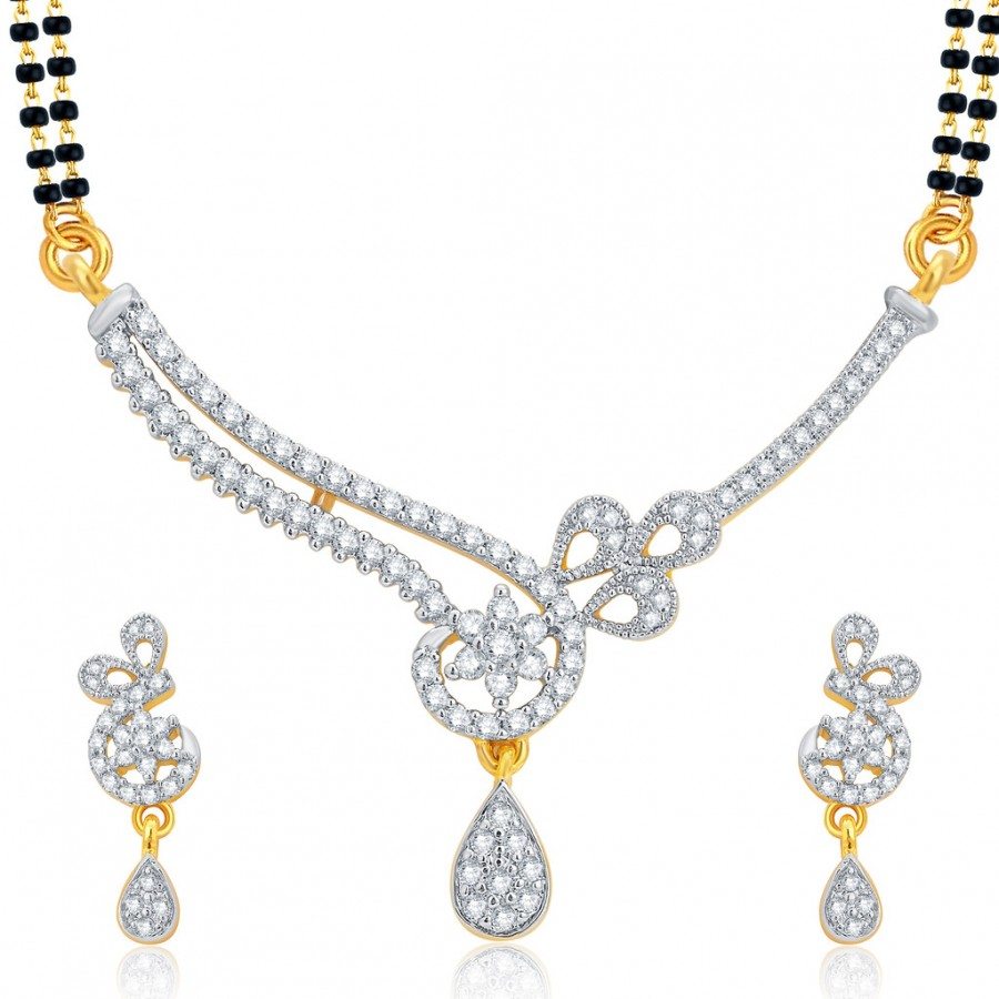 Buy Pissara Cluster Gold and Rhodium Plated CZ Mangalsutra Set For Women Online