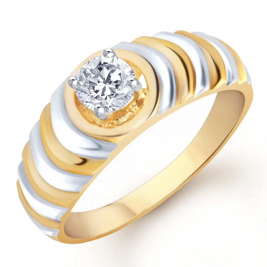 Buy Pissara Gold and Rhodium Plated Solitaire CZ Ring for Men(120GRK530) Online