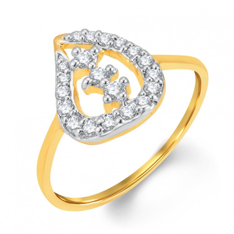 Buy Pissara Alluring Gold and Rhodium Plated Cubic Zirconia Ring Online