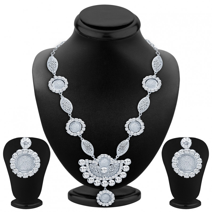 Buy Sukkhi Eye-Catchy Rhodium Plated AD Necklace Set Online