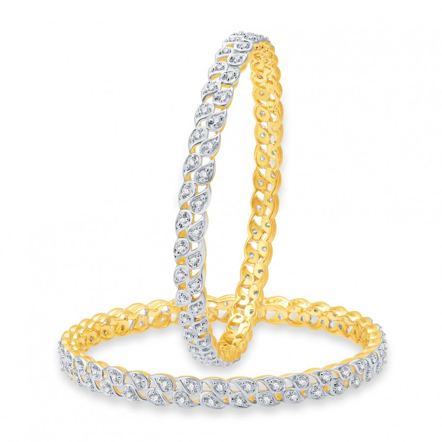 Buy Pissara Sparkling Gold And Rhodium Plated CZ Bangles For Women Online