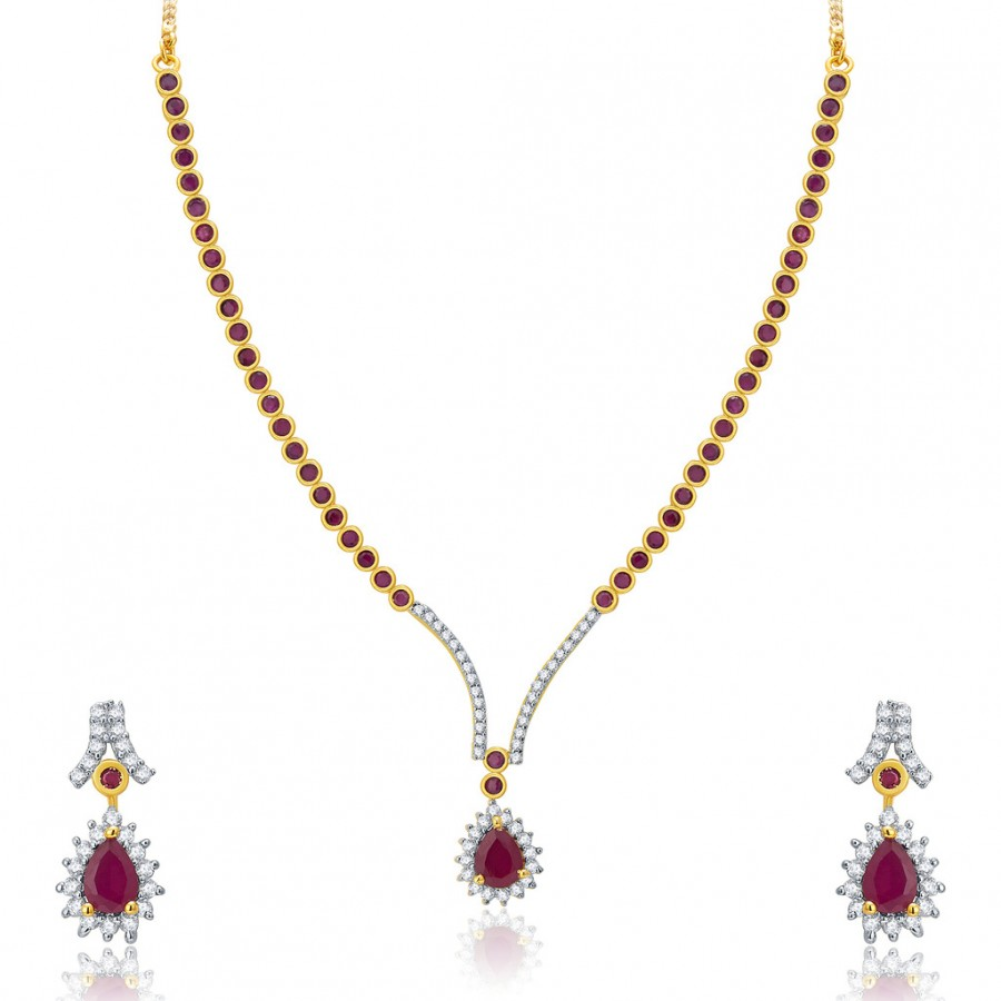 Buy Pissara Bejeweled Gold And Rhodium Plated Ruby CZ Neklace Set For Women Online