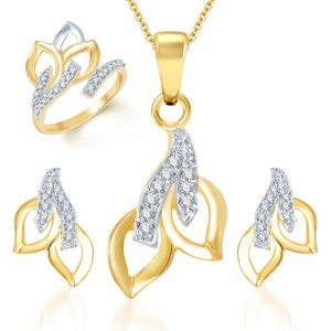 Buy Pissara Beguilling Classy Gold and Rhodium Plated CZ Pendant Set and Ring Combo Online