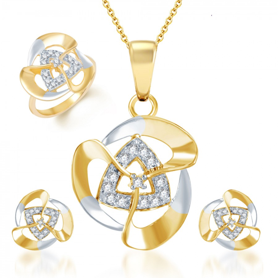 Buy Pissara Creative Fashion Gold and Rhodium Plated CZ Pendant Set and Ring Combo Online