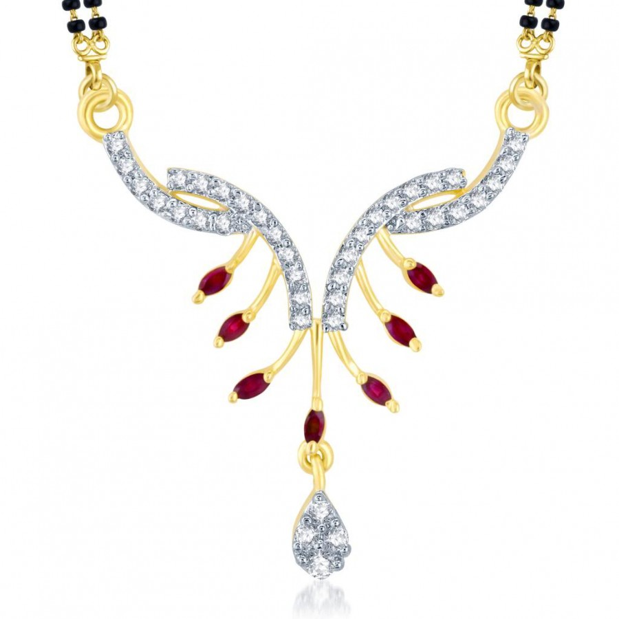 Buy Pissara Fashionable Gold and Rhodium Plated Cubic Zirconia and Ruby Stone Studded Mangalsutra Pendant Online