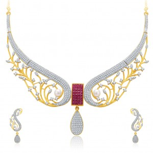 Buy Pissara Angelic Gold And Rhodium Plated Ruby CZ Neklace Set For Women Online