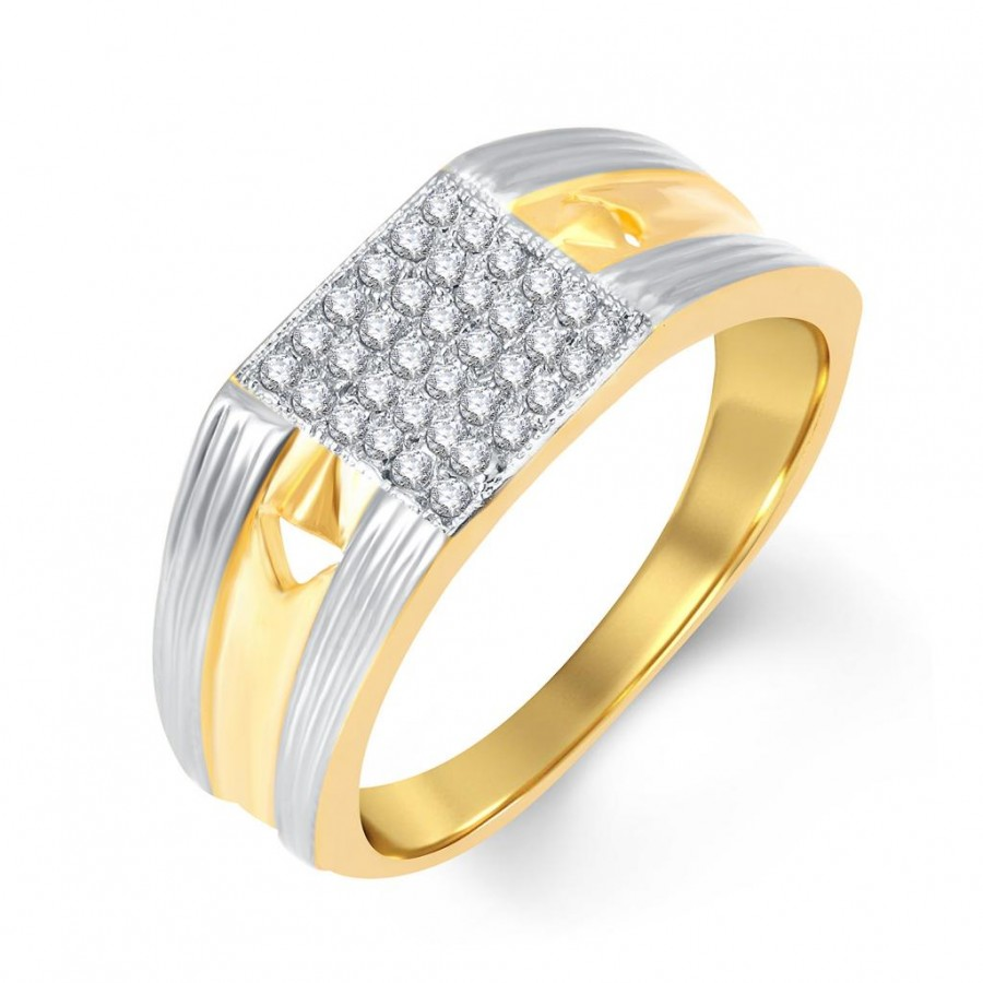 Buy Pissara Trendy Gold and Rhodium Plated Cubic Zirconia Ring For Men Online
