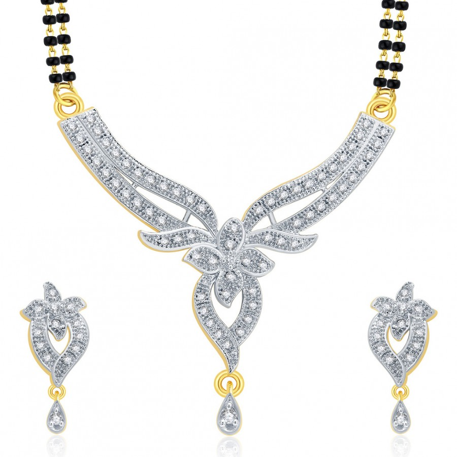 Buy Pissara Sparkling Gold And Rhodium Plated CZ Mangalasutra Set For Women Online