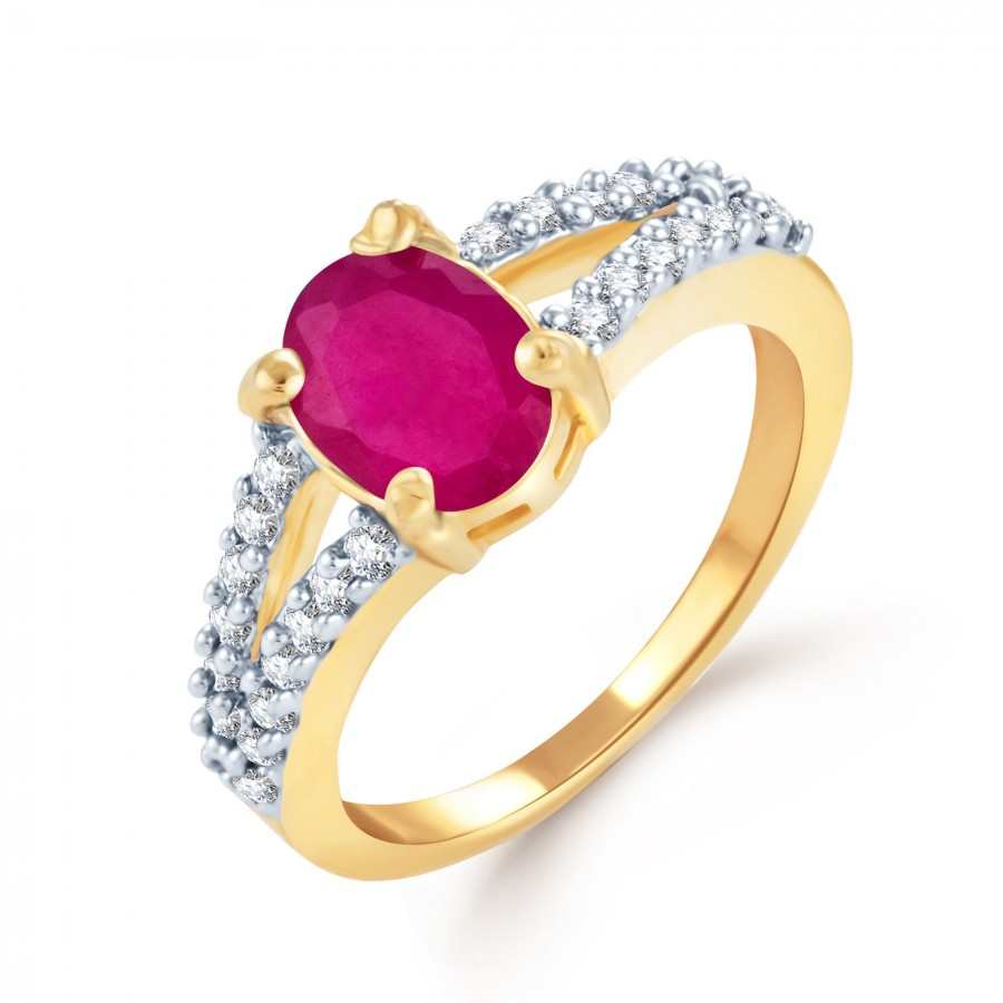 Buy Pissara Splendid Gold and Rhodium Plated Ruby CZ Ring Online