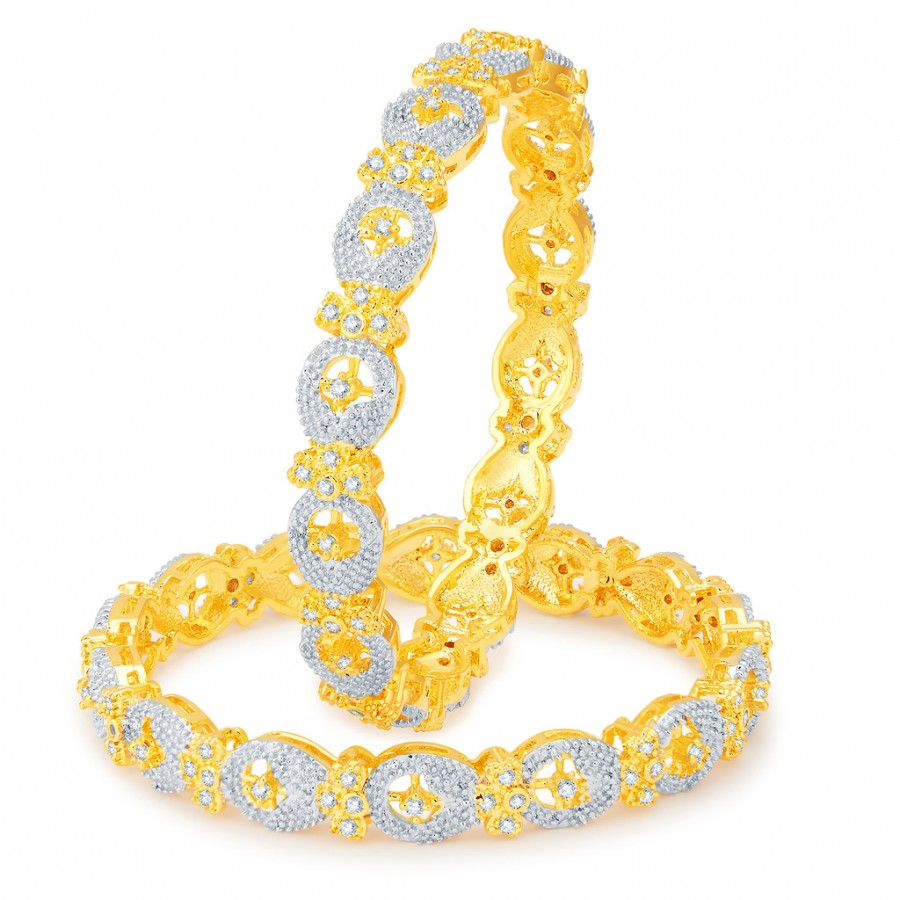 Buy Pissara Sparkling Gold and Rhodium Plated CZ Bangles Online