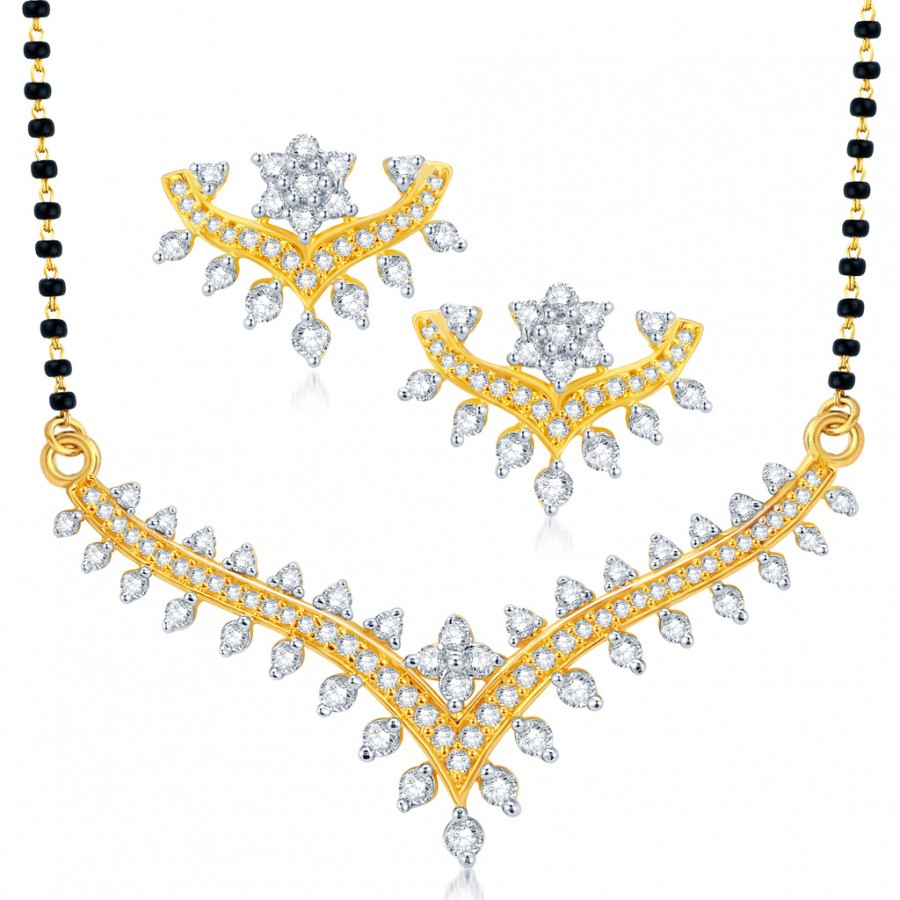 Buy Pissara Appealing Gold and Rhodium Plated CZ Mangalsutra Set Online