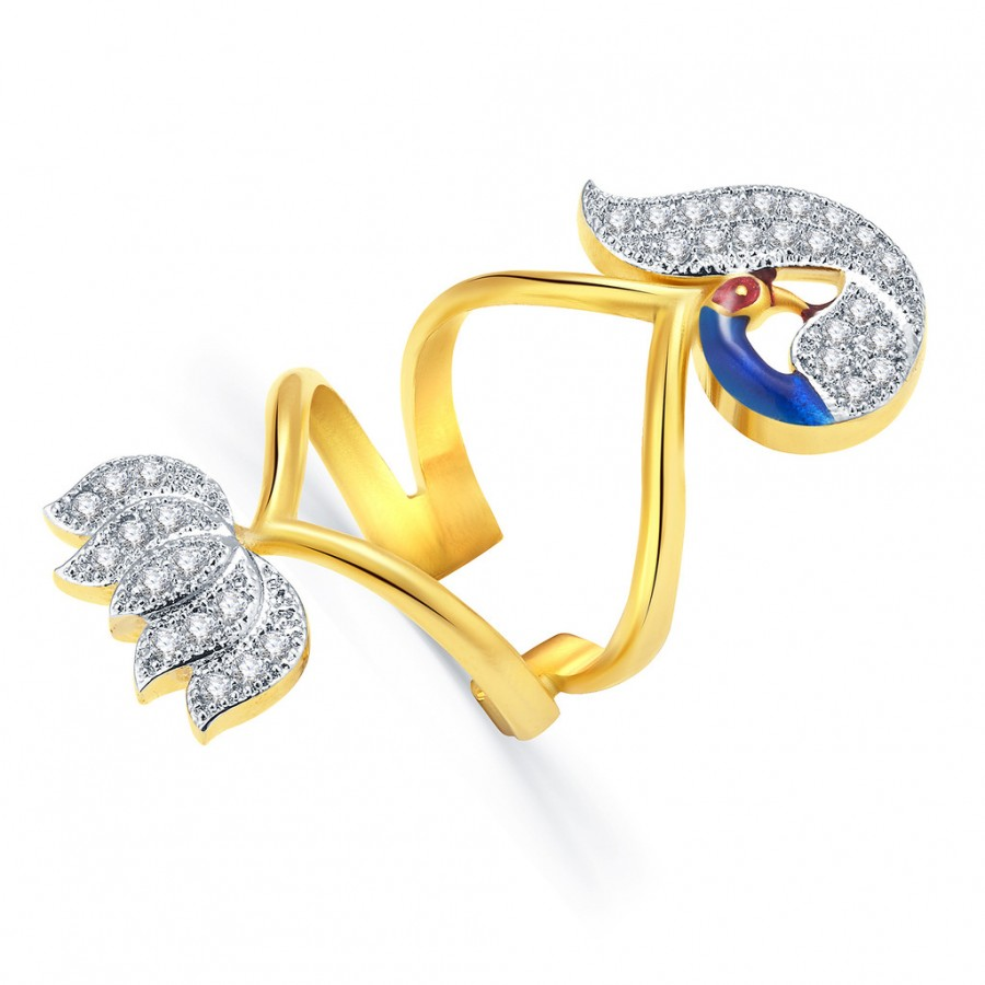Buy Pissara Marvellous Peacock Gold And Rhodium Plated CZ Ring For Women Online