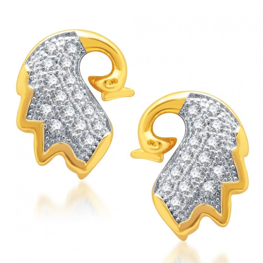 Buy Pissara Splendid Gold and Rhodium Plated Micro Pave CZ Earrings Online