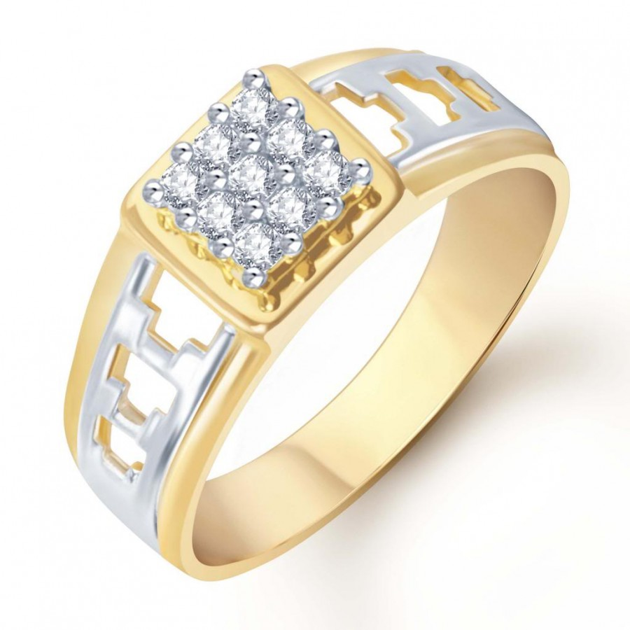 Buy Pissara Gold and Rhodium Plated CZ Ring for Men(110GRK450) Online