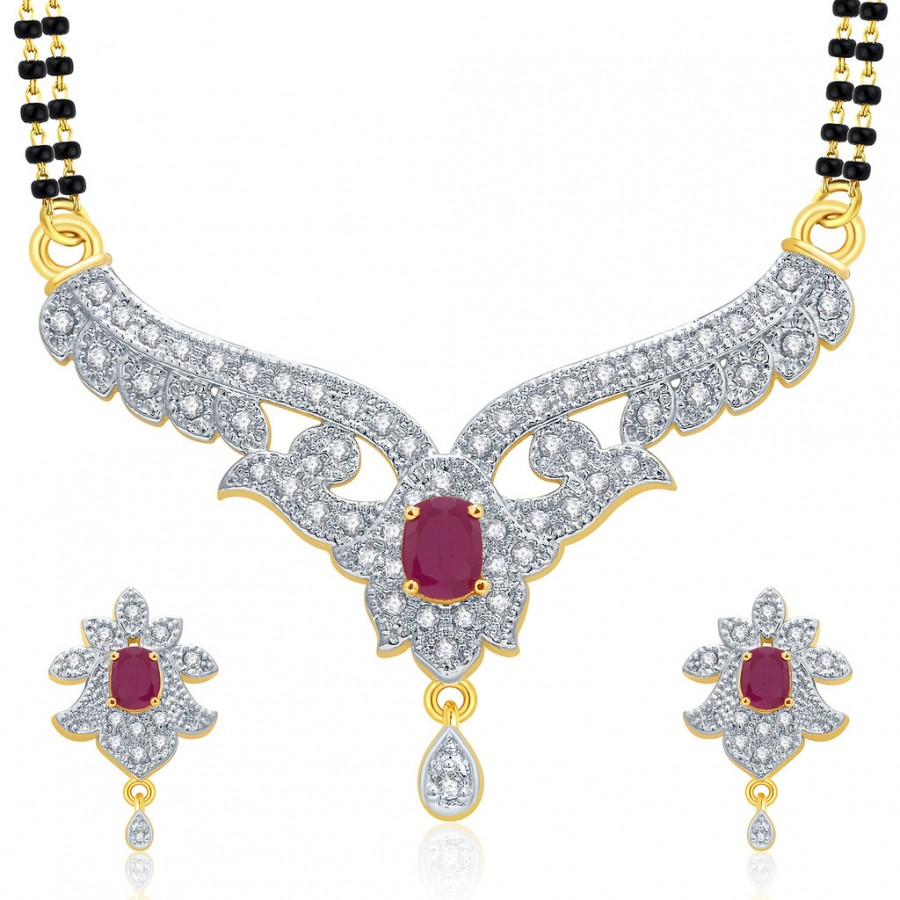 Buy Pissara Magnificient Gold And Rhodium Plated Ruby CZ Mangalasutra Set For Women Online