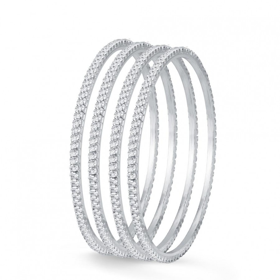 Buy Sukkhi Delightful Rhodium Plated Set OF 4 Australian Diamond Single Line Bangle Online