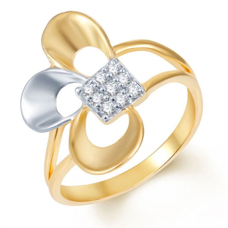 Buy Pissara Fine Design Gold and Rhodium Plated CZ Ring Online