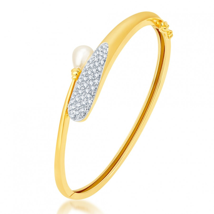 Buy Pissara Astonish Gold and Rhodium Plated CZ Kada Online