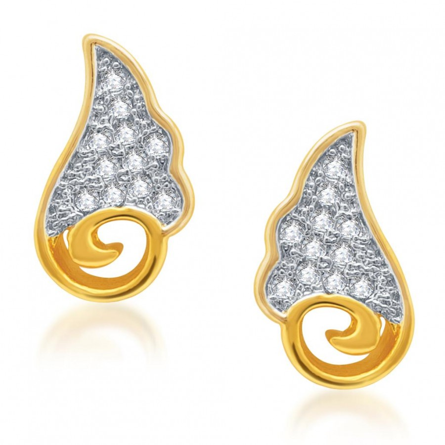 Buy Pissara Pleasing Gold and Rhodium Plated Micro Pave CZ Earrings Online