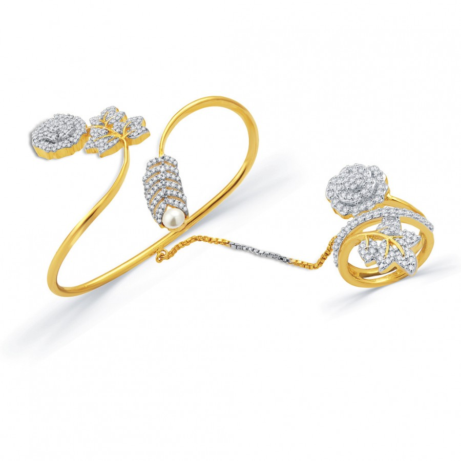 Buy Pissara Treasured Ecstasy Gold And Rhodium Plated CZ Kada With Ring For Women Online