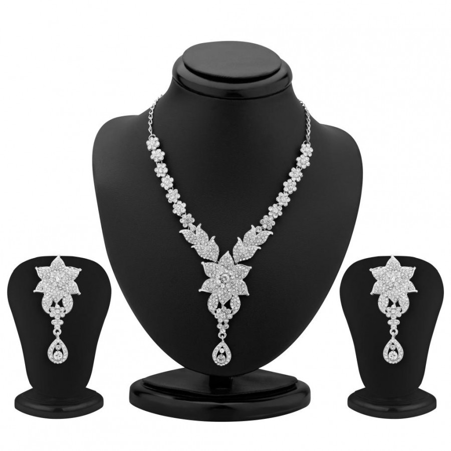 Buy Sukkhi Sublime Rhodium Plated Australian Diamond Necklace Set Online