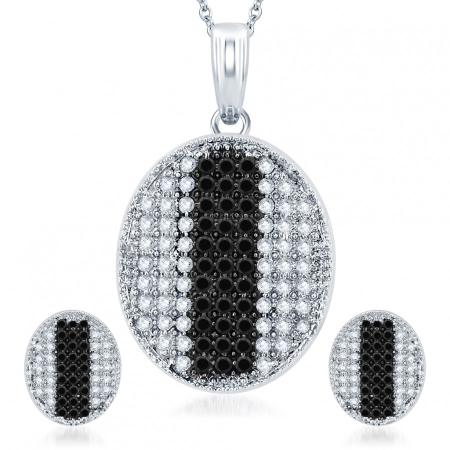 Buy Pissara Gleaming Rhodium Plated Black CZ Micro Pave Pendant Set Online