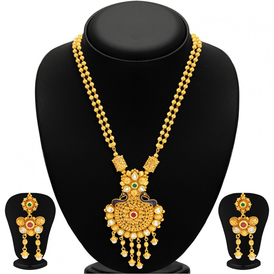 Buy Sukkhi Magnificent Pecock Gold Plated Necklace Set For Women Online