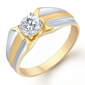 Buy Pissara Gold and Rhodium Plated Solitaire CZ Ring for Men(132GRK530) Online